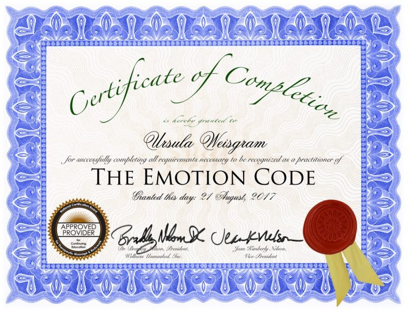 Zertifikat The Emotion Code